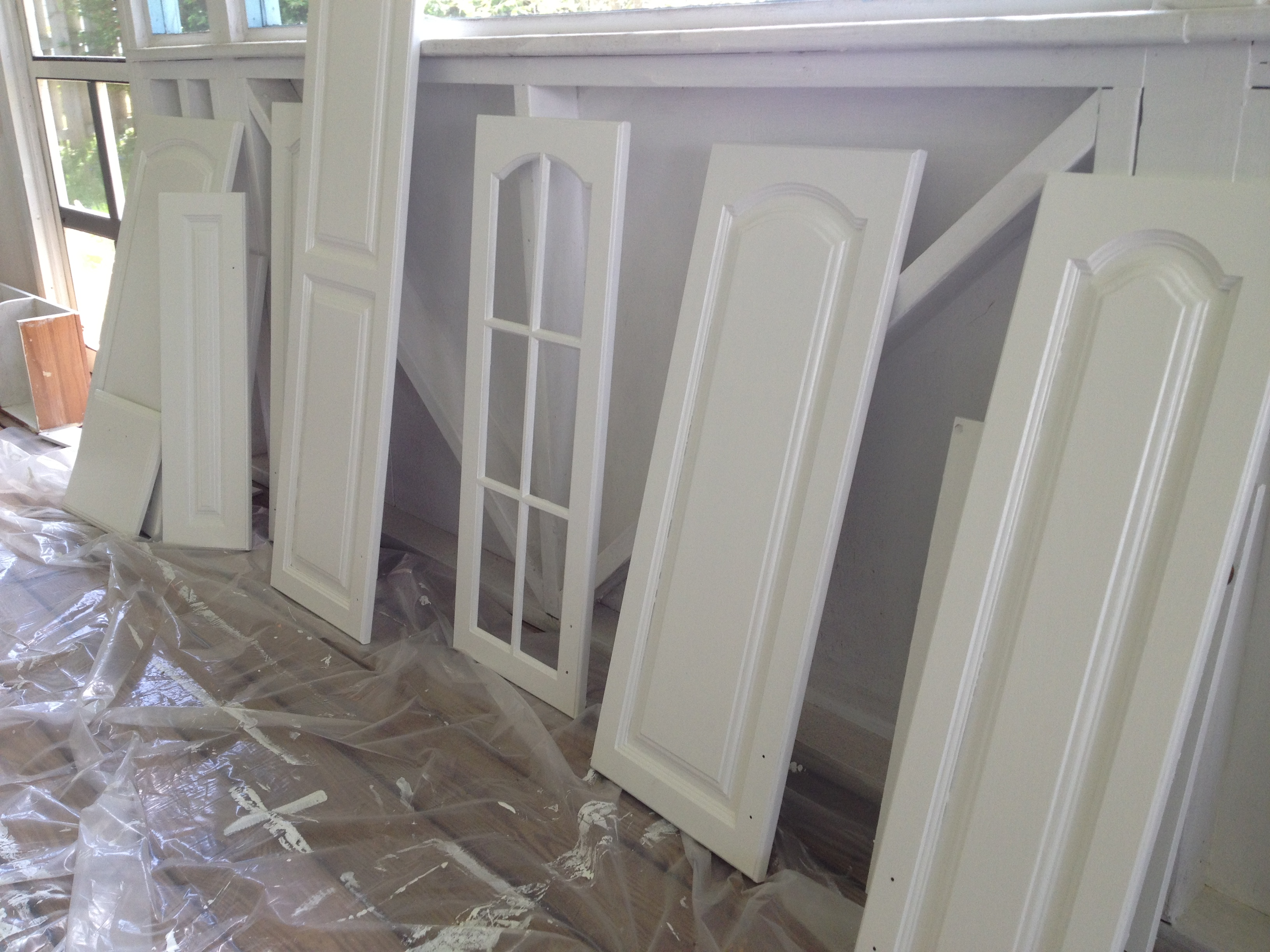 The kitchen in progress growing up gibson for Benjamin moore oxford white kitchen cabinets
